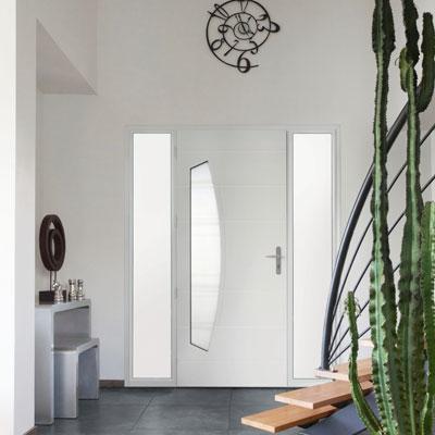 Porte d 39 entr e mixte aluminium bois bel 39 m pose concept - Bel m porte d entree ...