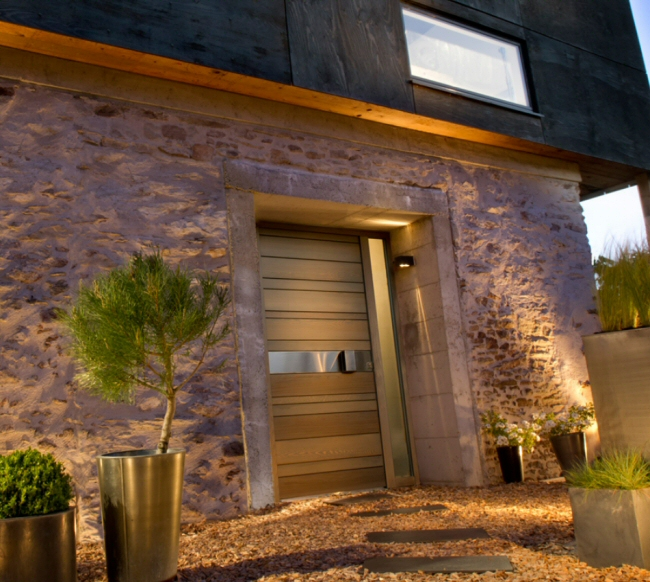 porte d 39 entr e mixte aluminium bois bel 39 m pose concept. Black Bedroom Furniture Sets. Home Design Ideas